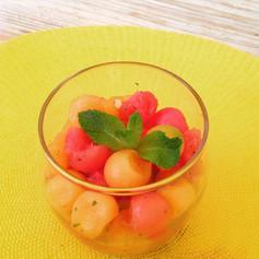 Salade melon pastèque à la menthe fraîche