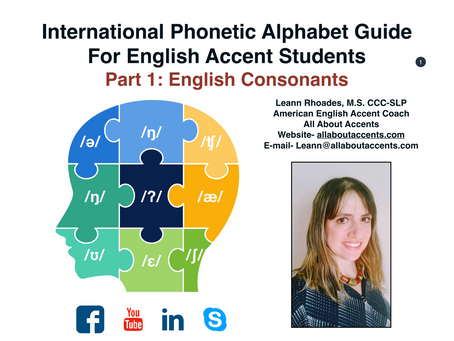 Free E-Book: International Phonetic Alphabet Guide for English Accent Students.  Part 1- Consonants