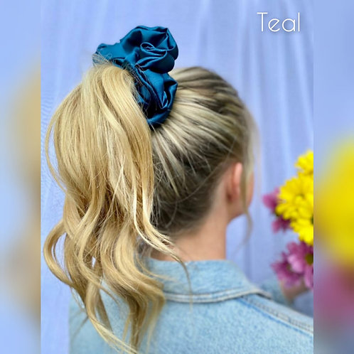 Teal large Silky Scrunchie