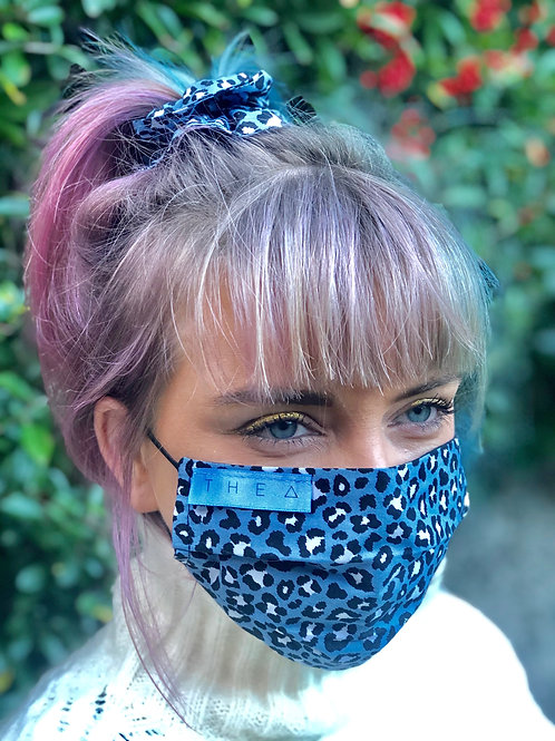 BlueLeopard with Black Scrunchie set