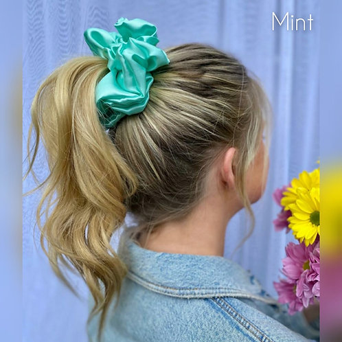 Mint large Silky Scrunchie