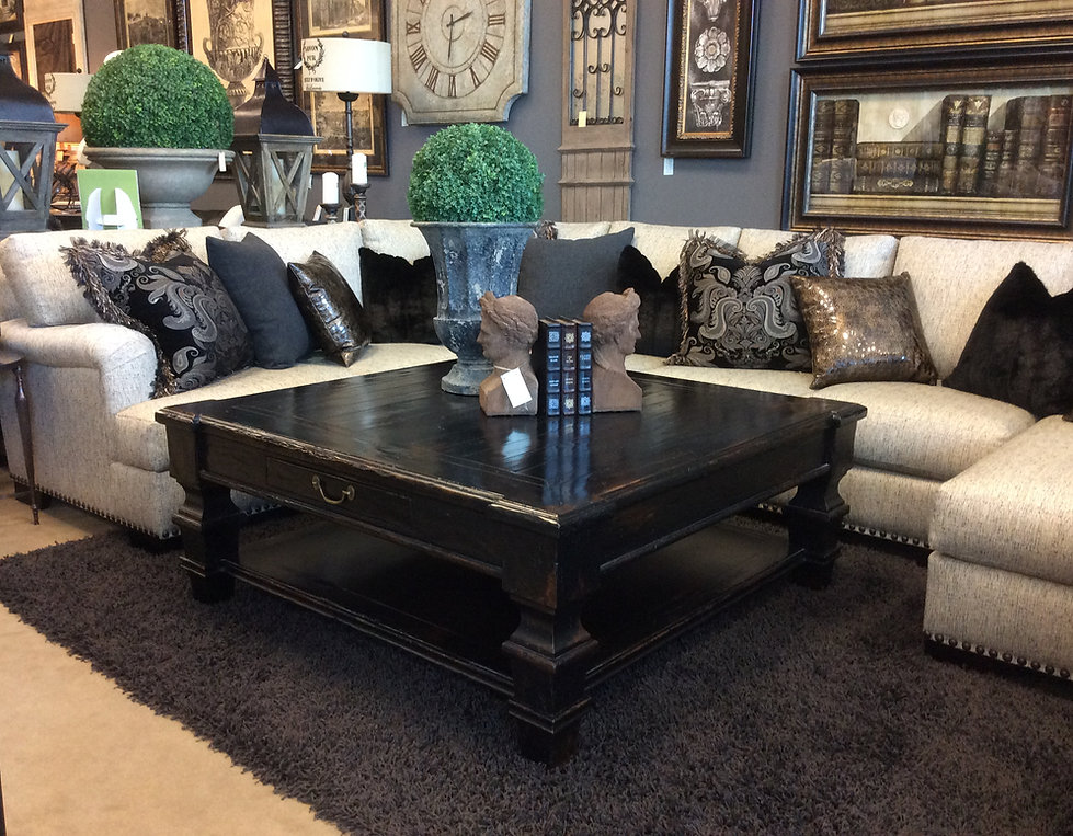 Murrieta, California Furniture Store, Custom Upholstered Sectional, Cocktail Table, One of a Kind Accessories