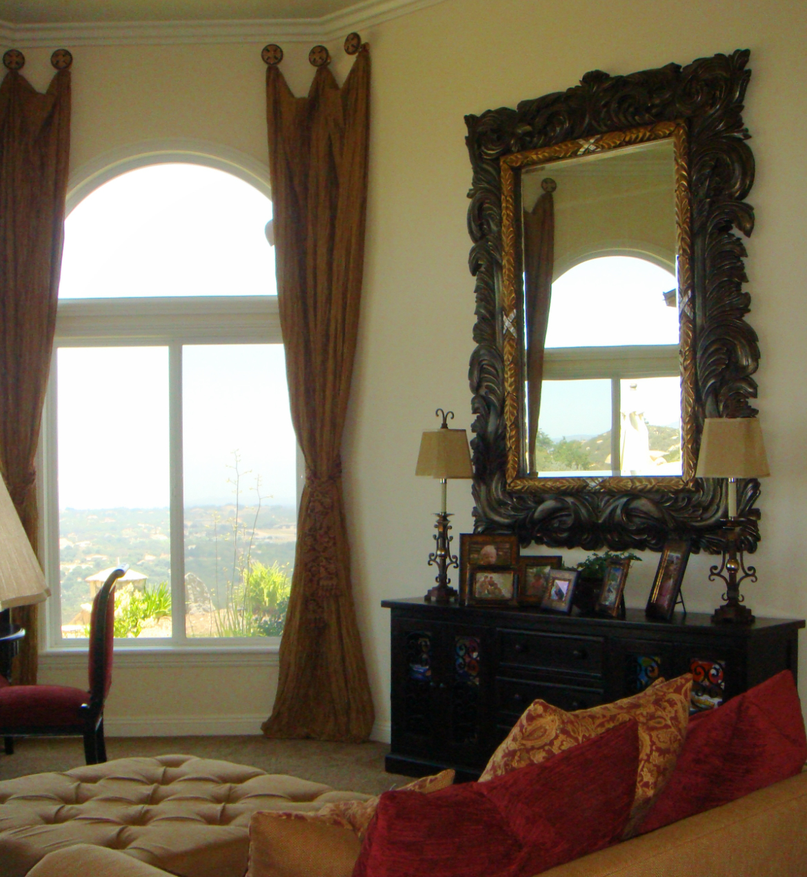 Window Treatments, Large Mirror