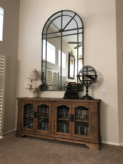Wood Credenza and Iron Mirror