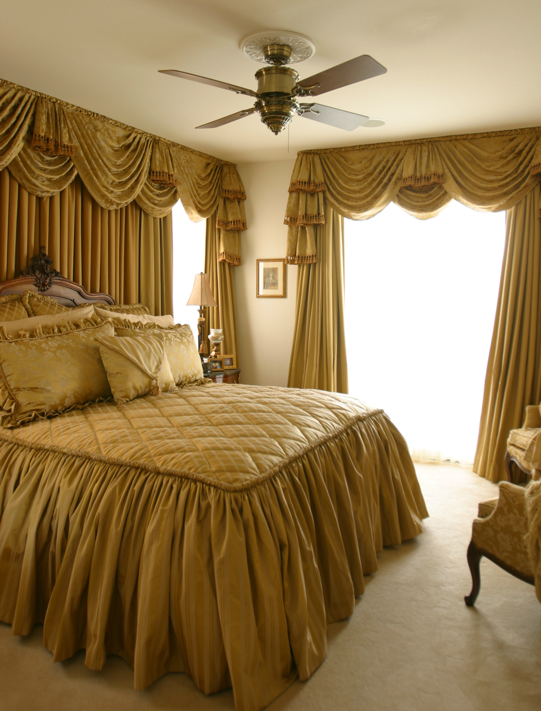 Master Bedroom with Custom Draperies