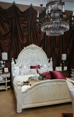 White Bed and pop of color