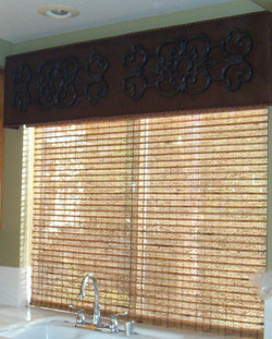 Custom Cornice Box and Woven Shade