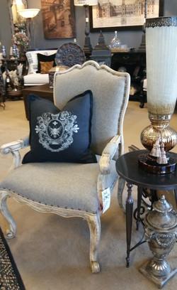 Gray Linen Accent Arm Chair