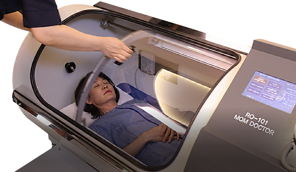 getting into the Hyperbaric oxygen chamber
