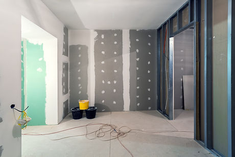 Metal frames and plasterboard (drywall)