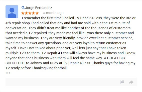 TV REPAIR CUSTOMER JORGE FERNANDEZ 5 STARS