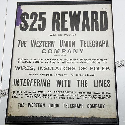$25.00 Reward - The Western Union Telegraph Co Sign