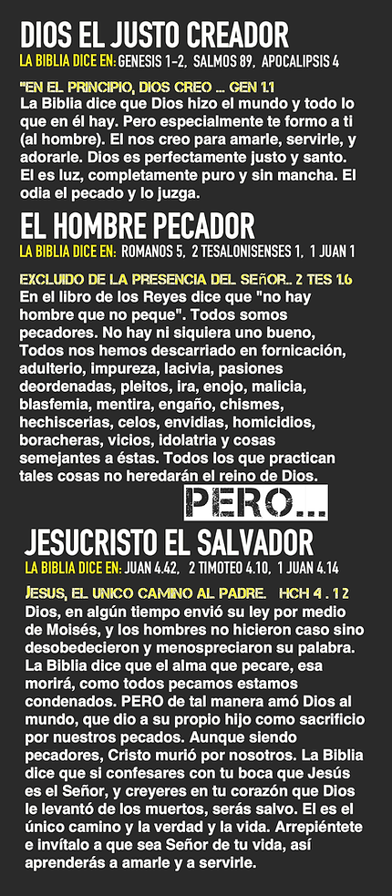 Dios el justo creador, El hombre pecador, Jesucristo el Salvador