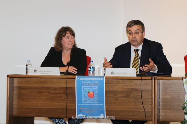 Juana Azcarate Seminario, AIPJ-Espanha, psicóloga forense no PSIMAE e António Fialho, juiz no tribunal do Barreiro