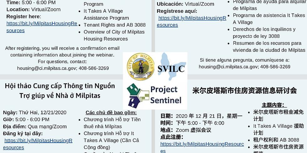 Free Webinar: Milpitas Housing Resources Informational Workshop