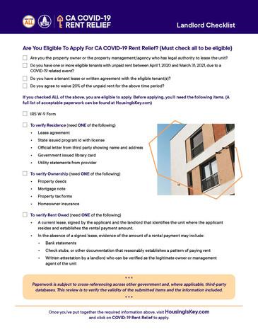 Rent Relief Landlord Checklist
