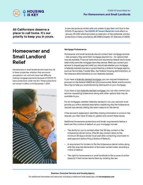 Homeowner and Small Landlord Relief