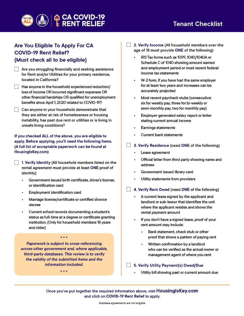 Rent Relief Tenant Checklist