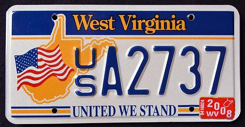 WV United We Stand - U.S. Flag - State Map - USA 2737