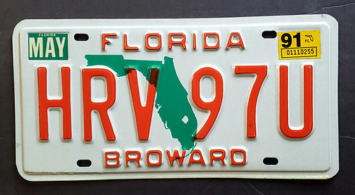 1991 FL Green State Map - Broward County HRV 97U