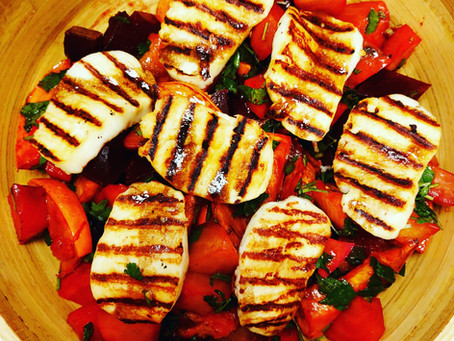 A delicious, healthy and colorful salad in accordance with the fire element of summer