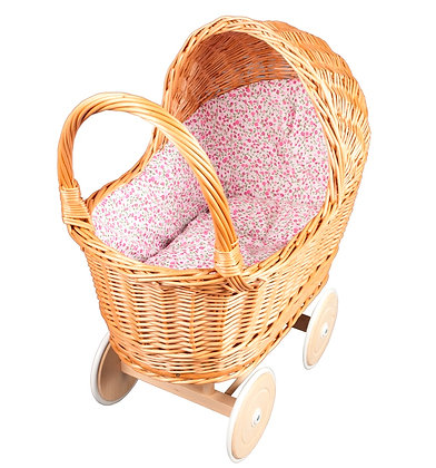 Rieten poppenwagen - roze