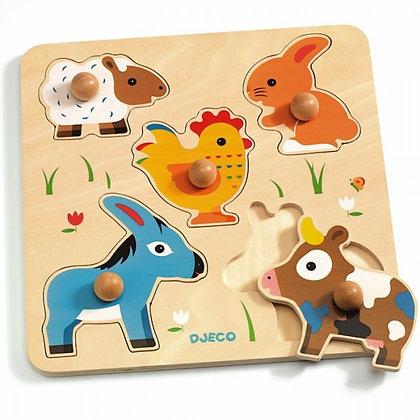 Houten puzzel met dieren Hihan & co- Djeco