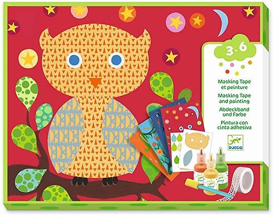 Kleurkaarten met masking tape en verf - Djeco