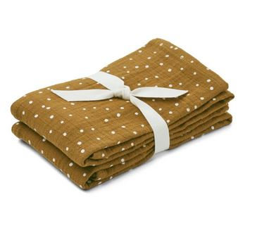 Set de 2 torchons mousseline Confetti olive - Liewood