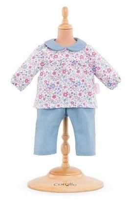 Gebloemd bloesje en broek voor Corolle pop 30/36cm