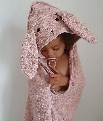 Serviette à capuche, lapin rose - Liewood