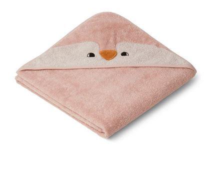 Handdoek met kap, pinguïn rose - Liewood