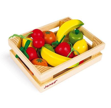 Cagette de 12 fruits (bois) Janod