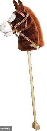 Cheval bâton en peluche avec son