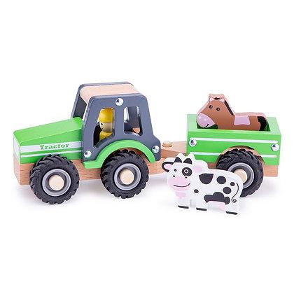 Tractor met aanhangwagen - New Classic Toys