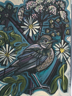 Blackbird with Chamomile SOLD