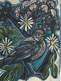 Blackbird with Hogweed and Chamomile SOLD