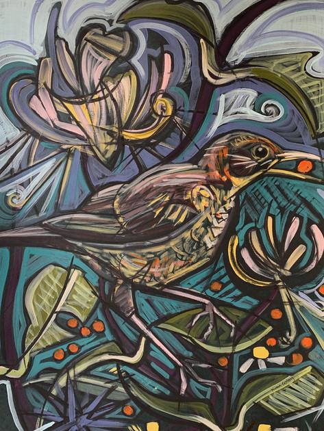 Juvenile Blackbird with Rowan Berry