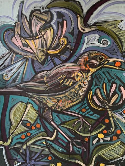 Female Blackbird with Rowan Berry