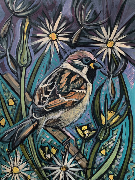 Sparrow with Dandelions