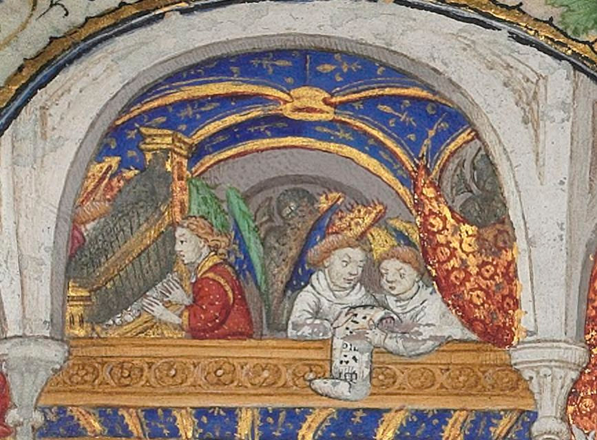 The detail of the positive organ and the singers. It appears as if those singers are having some trouble reading the music, and the organist is singing too!