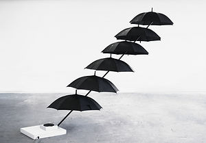 Artwork, vinyl, sound, art, installation, VOID, umbrellas, water, hot