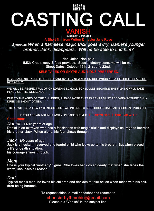 Vanish - Auditions in Columbus and Zanesville Ohio for Indie Film