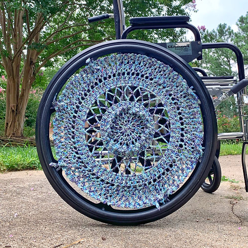On The Move Multi Crocheted Wheelchair Wheel Covers by Different View Designs