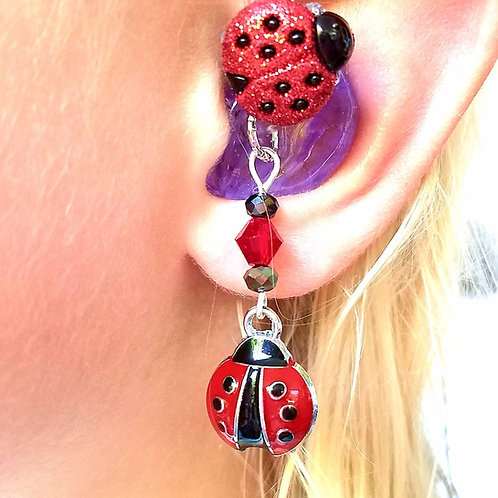 Lovely Lady Bugs Hearing Aid Charms + Tube Trinkets by Purple Cat Aid Charms