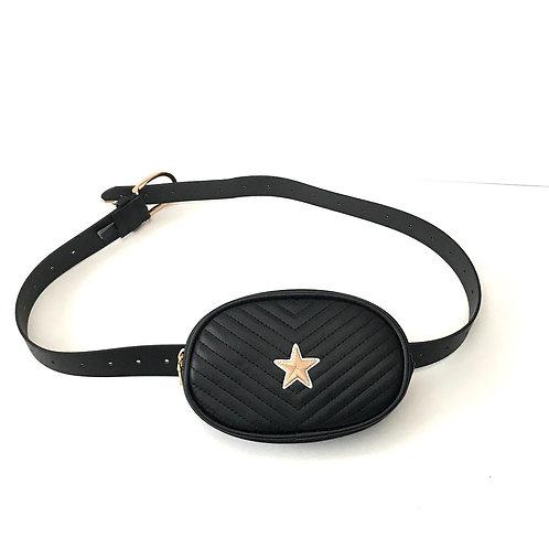 Black + Gold Star Monte Carlo Belt Bag by Haute Shore