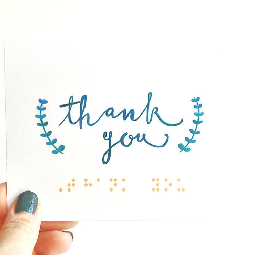 "Pack of 3 ""Thank You"" Blue Semi-Fern Braille Cards by Inclusive Greetings"