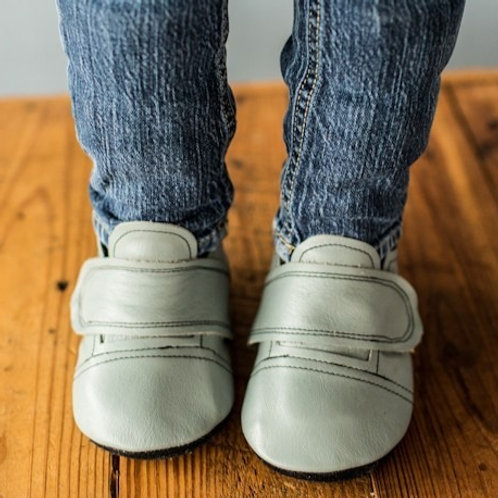 Everyday Gray Leather Sneakers by Shoes for AFO's by Gracious May