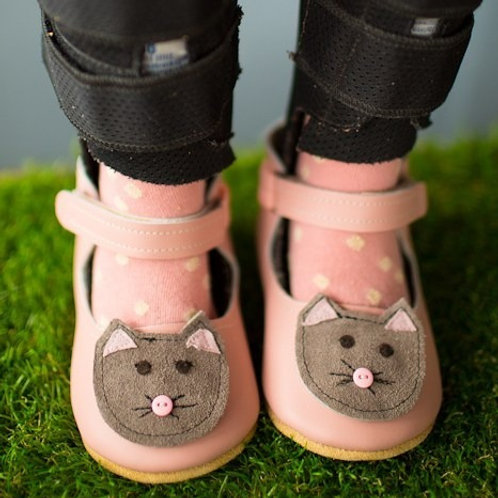 Blush Pink Kitties Mary Jane by Shoes for AFO's by Gracious May