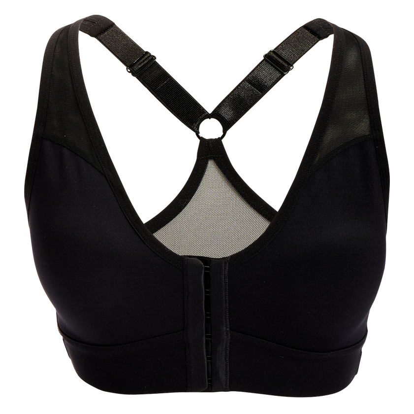 Product image of the Bianca Front Closure Sports Bra in Black. It has hook-and-eye closures down the front, cross cross straps in the back and a mesh back
